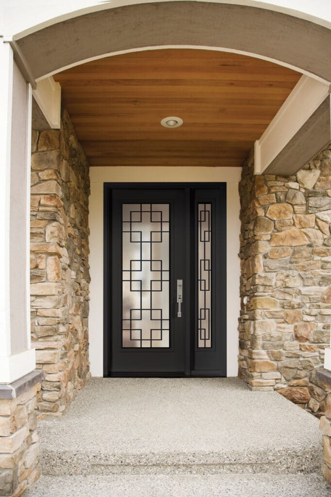 Single black home door with sidelites winnipeg installation